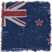 A spare image of the New Zealand flag in color looking like a pencil sketch